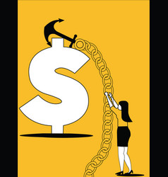 woman hunting the dollar with ship anchor vector image