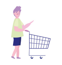 young man with shopping cart supermarket isolated vector image