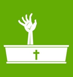 zombie hand coming out of his coffin icon green vector image