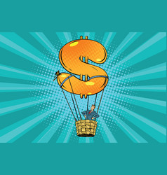 businessman in a hot air balloon dollar vector image vector image
