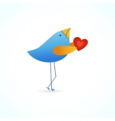 cute blue bird with heart vector image