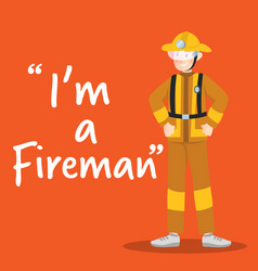 fireman smiling character on orange background vector image vector image
