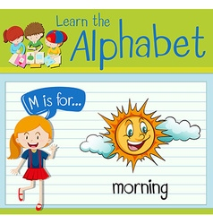 Flashcard letter M is for morning vector image vector image