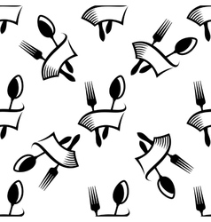 Kitchen cutlery symbols seamless pattern vector image