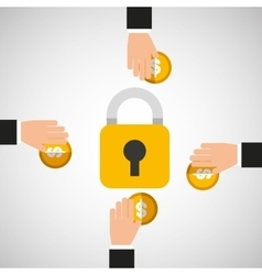 hands holds coins safety icon vector image