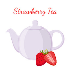 strawberry tea in teapot with berries vector image vector image
