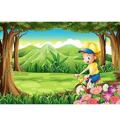 A boy biking in the middle of the forest vector image vector image