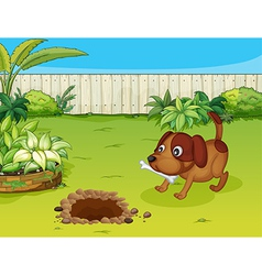 dog with a bone vector image vector image