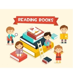 Featuring Kids Reading Books vector image