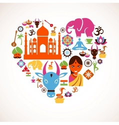 Heart with India icons vector image vector image