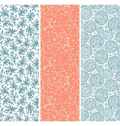 Set of coral and sea star seamless vector image vector image