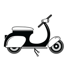 Vintage scooter type 2 in black and white vector image