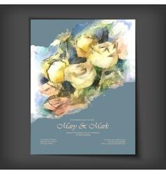 Watercolor Roses Wedding Invitation vector image