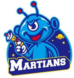 Blue martian hold a laser gun vector