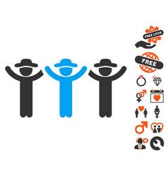 gentlemen hands up roundelay icon with dating vector image