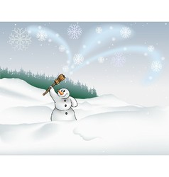 Landscape And Snowman vector image