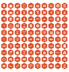 100 payment icons hexagon orange vector