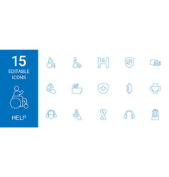 15 help icons vector