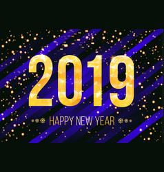 2019 golden numbers with confetti vector image