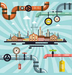 abstract retro old factory with pipeline vector image