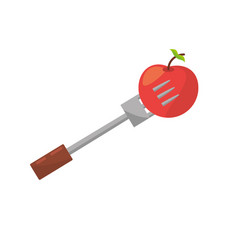 apple fork food picnic vector image