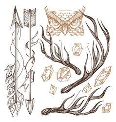 Arrows antlers gems and owls head collection vector