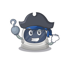 Astronaut helmet as pirate with hook hand and hat vector
