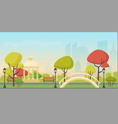 autumn city public park on modern city vector image