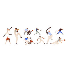 baseball players set pitchers catchers batters vector image