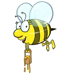 Bee cartoon holding honey bucket vector image