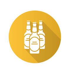 Beer bottles flat design long shadow icon vector