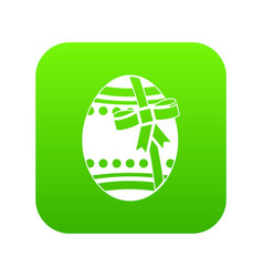 big easter egg icon digital green vector image