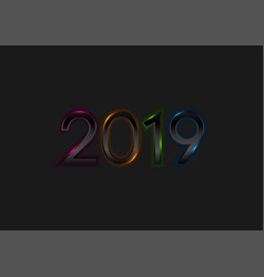 black new year 2019 with colorful neon lights vector image