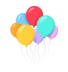 Bunch balloons in cartoon flat style isolated vector