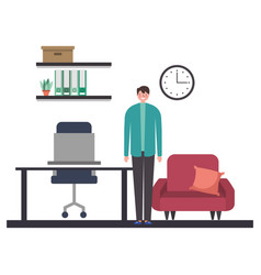 businessman character in the office work vector image