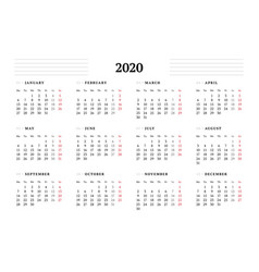 Calendar template for 2020 year stationery design vector