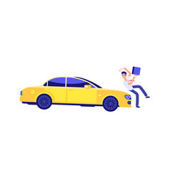 Car knocks down person accident insured event vector