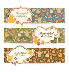 cartoon autumn horizontal banners vector image