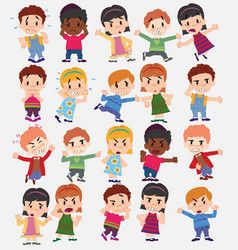 Cartoon character boys and girls set with vector