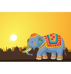 Cartoon elephant wearing traditional costume vector