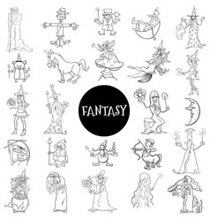 Cartoon fantasy characters large set color book vector