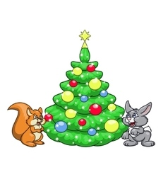 Christmas tree for squirrel and rabbit 2 vector image