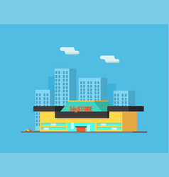 city landscape with skyscrapers and store building vector image