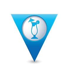 Coctail icon on map pointer blue vector