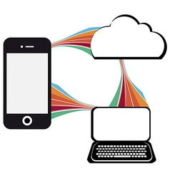communication technology with mobile phone vector image