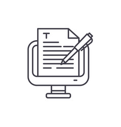 copywriting line icon concept copywriting vector image
