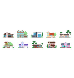 cottage houses front view modern suburban home vector image