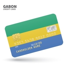 Credit card with Gabon flag background for bank vector image