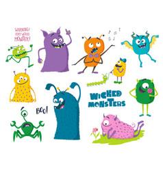 Cute cartoon monsters vector
