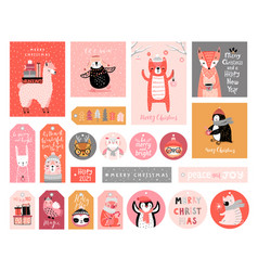 Cute gift tags with woodland animals celebrating vector